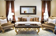 Vanessa De Leon's Brown Scheme Interior Design : Appealing Brown Scheme Luxury Living Room Decoration With Sofa And Table Lamps On Area Rug With Mirror And Window Curtain Ideas