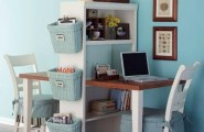 Cute home office ideas : Appealing Cozy Two Chairs Office Glamorous Table Buckets Decorating Blue Wallpaper With Simple Cabinet