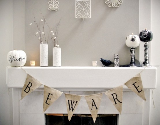 Halloween Mantel Decorating Ideas for Spooky Party: Appealing Halloween Mantel Decorating Ideas Beware Sign Flag On A Fireplace White Candle Wall Carving Decorations Small Black Bird Stylist