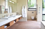 The Swellendam House: Sustainable Contemporary Home In South Africa : Appealing Natural Landscape View Bathroom Design With Large Cabinet Mirror Kimono Hanger And Wooden Flooring Ideas