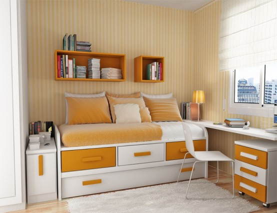 Teenage Bedroom Layouts With Interesting Ideas: Appealing Orange And White Combination Bedroom Decoration With Cozy Sleeping Bed And A Stylish Look Bed Design Soft Striped Wallpaper