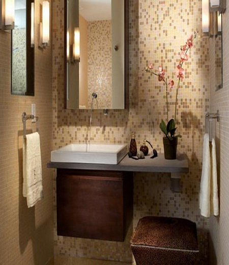 Captivating Bathroom Vanity Ideas For Small Bathrooms Design : Appealing Small Bathroom Vanity Design With Floating Cabinet Mirror Quilt And Glass Mosaic Tile Wall Ideas