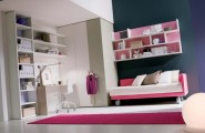 Cool Teenage Girls Bedroom Ideas : Appealing Teenage Bedroom Decorating Ideas With Hangging Pink Bookshelf With Pink And White Sofa With White Exsposed Cabinet Wall