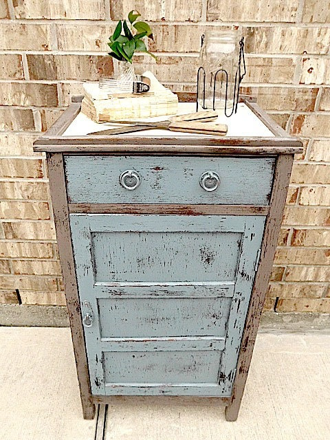 Vintage Wooden Kitchen Island Designs: Appealing Vintage Curio Cabinet With Drawers And Fold Out Ledge Square With Stone Wall Background