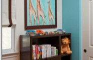 Inspiring Modern Nursery Ideas For Boys : Aqua And Orange Modern Boy Nursery With Animal Print Giraffs And Pics Animal On The Walls