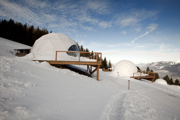 Winter Vacation Destination : WhitePod Alpine Ski Resorts In Swiss Alps: Architecture Design Of Luxurious WhitePod Alpine Ski Resort Pods Based In A High Mountain Pasture