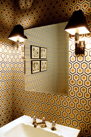 Art Deco Bathroom Designs To Inspire Your Relaxing Sanctuary: Art Decor Bold Pattern Wallpaper Orange Simple Square Mirror Powder Room Twin Black Lamps Antique Style White Sink Bathroom Design Four Small Hanging Pictures
