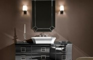 Art Deco Bathroom Designs To Inspire Your Relaxing Sanctuary : Art Decor Contemporer Zamrud Cut Mirror White Angled Sink Grey Drawers Cream One Seater Armchair Light Brown Painted Wall Bathroom Design
