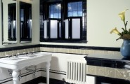 Art Deco Bathroom Designs To Inspire Your Relaxing Sanctuary : Art Decor White Sink Tiles Floor Double Mirror Modesty Black Windowsill Tampered Glass Bathroom Old Style Powder Room Design