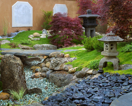 Fascinating River Rock Landscaping Pictures: Asian Landscape Color Shape Rocks