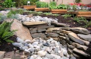 Fascinating River Rock Landscaping Pictures : Asian Landscape Dry Stream River Bed With Stacked Rock At Garden Culture Victoria