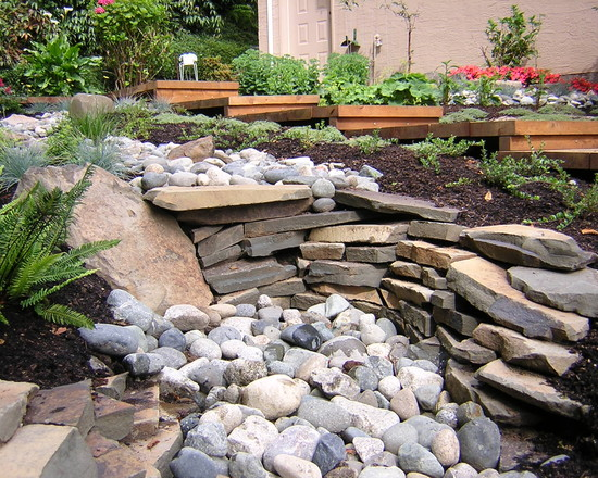 Fascinating River Rock Landscaping Pictures: Asian Landscape Dry Stream River Bed With Stacked Rock At Garden Culture Victoria