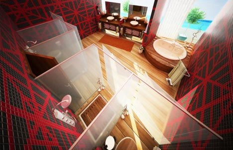 Enchanting Modern Bathroom Design Ideas : Astonishing Artistic Bathroom Interior Design With Black And Red Tile Wall Shower Room Cabinet Vessel Sink Mirror Whirlpool And Wooden Flooring Idea