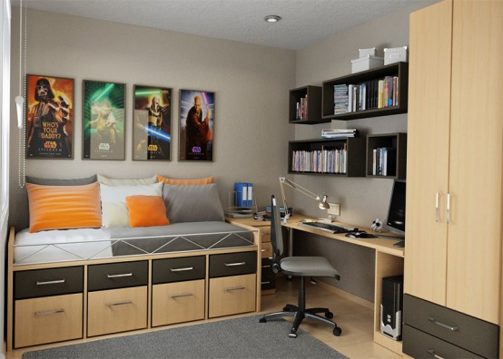Teenage Bedroom Layouts With Interesting Ideas: Astonishing Bedroom With Small Comfortable Sleeping Bed Compact Cabinet And Drawer With Orange White Pillow Throws Movie Posters Decoration Design For Man And Rug