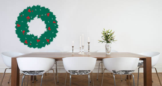 All Kind Of Christmas Holiday Wall Decals : Astonishing Dining Room With Wreath Wall Decal