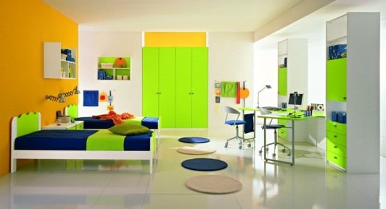 Colorful Ergonomic Solution Girls Bedrooms Design: Astonishing Ergonomic Solution Girls Bedrooms Design With Smart Wall Decor And Comfortable Working Place Interior Built In Wardrobe And Smart Dividing Space Study Desk
