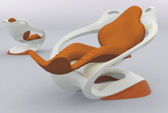 The Most Comfortable Lounge Chairs In The World : Astonishing Futuristic Recliner Chair Two Tones Colored