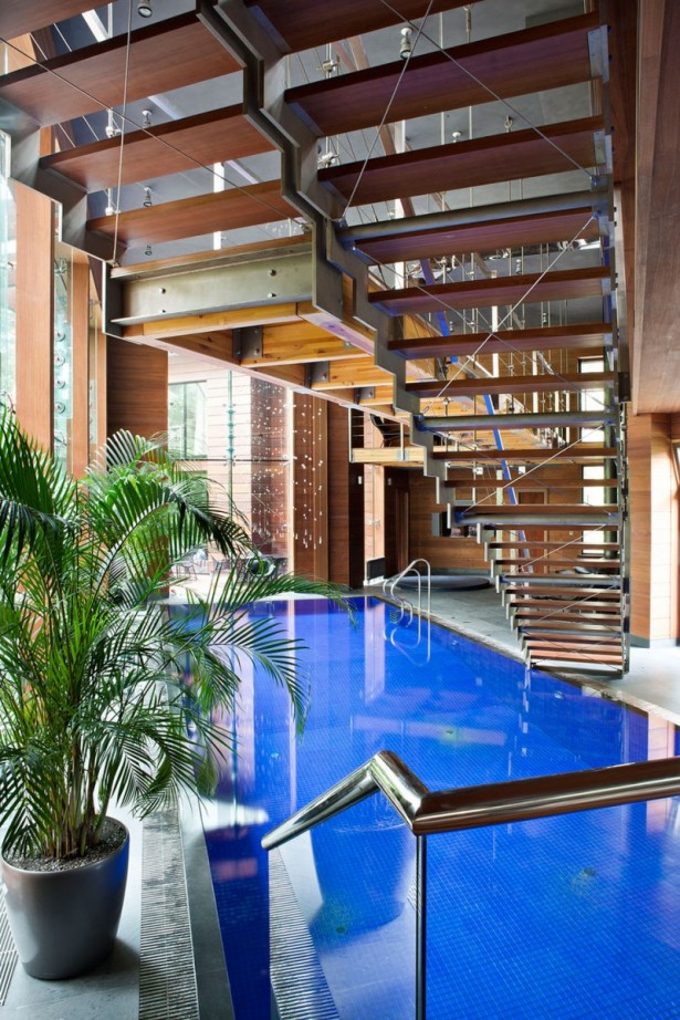 Fabulous Glass And Metal Decoration For House Interior Design Ideas: Astonishing Indoor Pool Wooden Indoor Iedas Staircase Astonishing Large Glasses Wall Indoor Charming Stairs Railing Green Pot Plant ~ stevenwardhair.com Design & Decorating Inspiration
