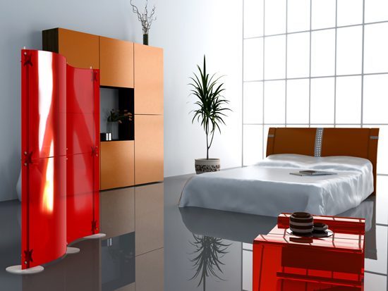 Glass And Metal Modern Room Dividers Ideas: Astonishing Modern Room Dividers Fluowall With Red Colored Glass Partitions Dividers Will Help You To Organize Your Living Space And Beatiful Bed And Bright Light