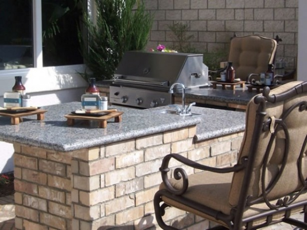 Coziest Space For Outdoor Kitchen Designs Near The House: Astonishing Outdoor Kitchen Designs Ideas Simple Barbecue Grill Smoker Sink Cabinetry Fireplace And Tile Or Stone Countertop ~ stevenwardhair.com Cabinets Inspiration