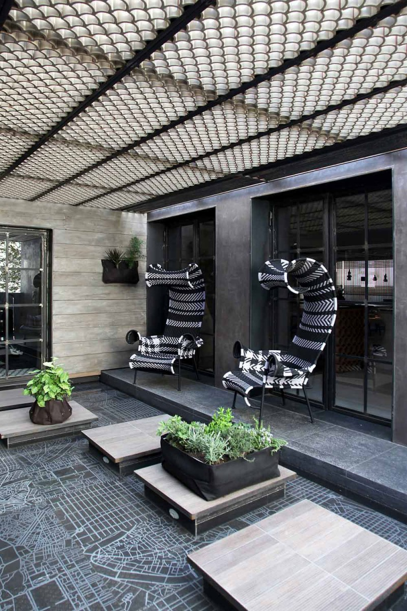 Extravagant Sleek Interior Design For A Loft: Astonishing Outdoor Stone Footpath With Inspiring Canopy And Terrific Outdoor Furniture Wooden Wall Glasses Door