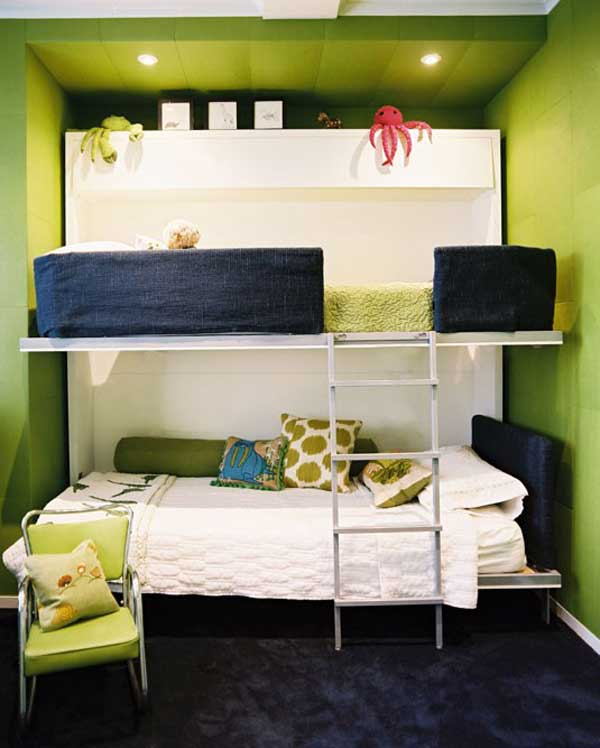 Space Saving Ideas: Various Bunk Beds Design Ideas : Astonishing Relaxing Light Gree Teen Bedroom With Very Simple White Bunk Beds Ideas