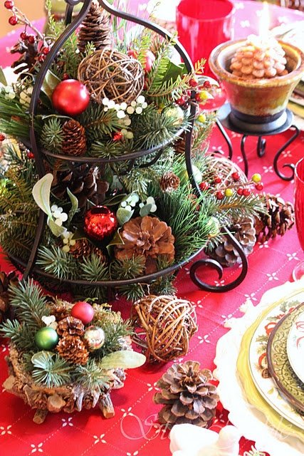 festive christmas decorations for an adult astonishing rustic christmas centerpiece table setting pine cones and
