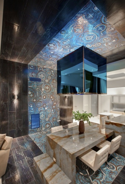 Extremely Modern Funky Apartment Interior Design Ideas: Astonishing Style Dining Room Luxurious Thick Marble Table With Modern Feel Shiny Dark Wood Flooring And Mirror Ceiling Reflecting The Funky Swirly Pattern Blue Carpet ~ stevenwardhair.com Apartments Inspiration