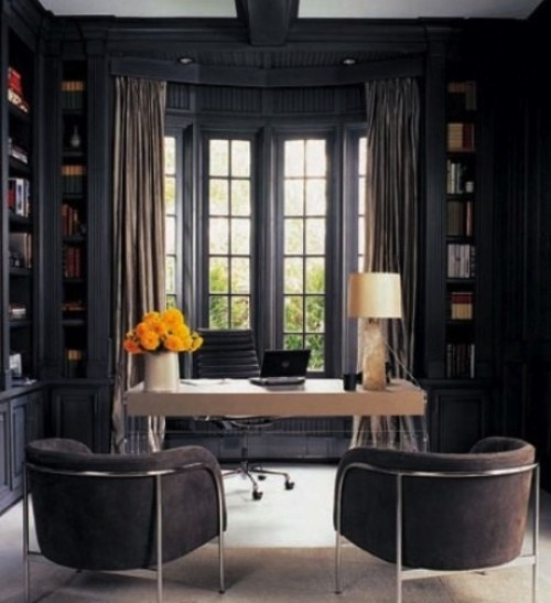 Old Fashion Captivating Home Office Design Ideas: Astonishing Stylish And Dramatic Masculine Home Offices Decor With Sleek Desk And Custom Black Pine Bookshelf With Office Interior With Window And Clean Curtain