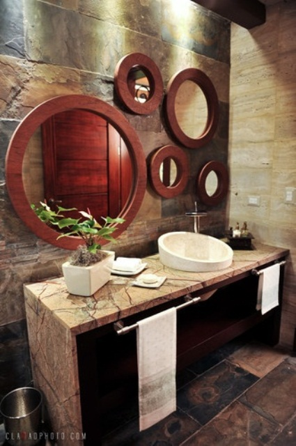 Unique Tropical Bathrooms Decorating Plans And Wall Decor: Astonishing Unique Tropical Bathrooms Natural Decorating Plans And Wall Decor Use Unique Wall Decor Towels Natural Tabletop And Pattern Marble Wall
