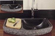 Outstanding Stone Sink Shaped Designs For Modern House : Astonising Dark Stone Sink Design For Their Bathroom And Kitchen Wood Counter Stone Sink Laminated Design Knive And Lemon