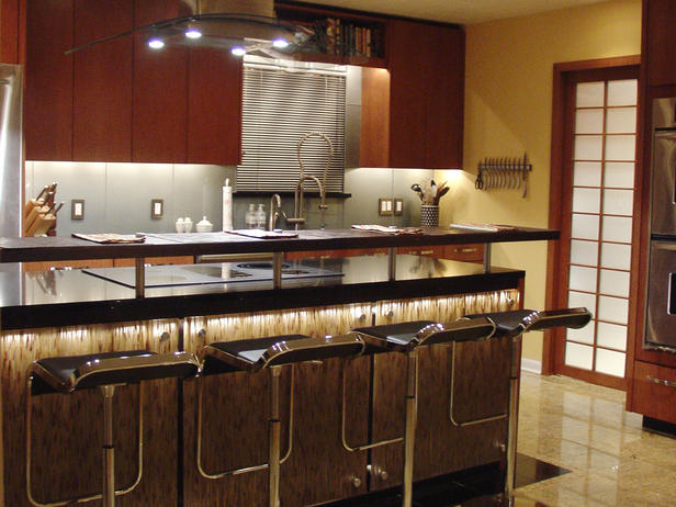 Unique And Innovative Kitchen Concepts Ideas : Astounding Brown Modern Kitchen Design With Unique And Innovative Kitchen Island Hood With Tile Flooring Ideas