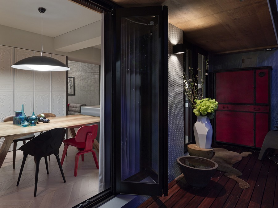 Exquisite Taipei Studio, Office Space By Day Cozy Home By Night : Astounding Taipei Apartment Exterior And Interior Design With Wooden Flooring Vase Flower Mat At Outside With Dining Table Chairs Pendant Light In Inside Ideas