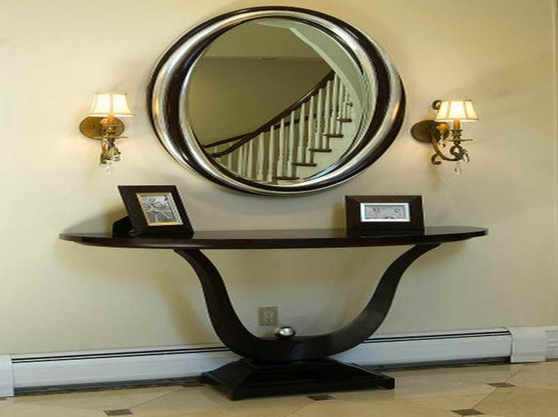 Inspiring Entryway Furniture Design Ideas : Astounding U Shape Feet Entryway Tables And Round Mirrors Beetwen Wall Lamps
