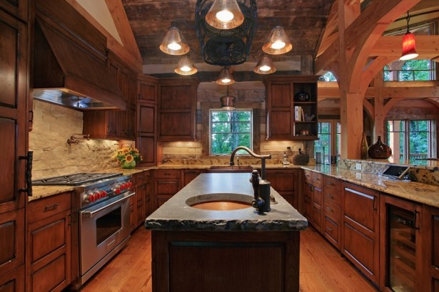 Fabulous Of Reclaimed Wood Kitchen Cabinets: Astounding Winterwoods Homes Kitchen Interior Design With Antique Reclaimed Wood For The Kitchen Cabinetry And Flooring With Marble Countertop Chandelier And Wooden Beams Construction Ideas ~ stevenwardhair.com Cabinets Inspiration