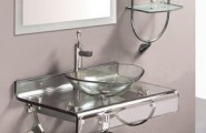 Bathrooms Vessel Sinks Design : Awesome Bathroom Vessel Sink Design With Shelf Table Mirror Ideas