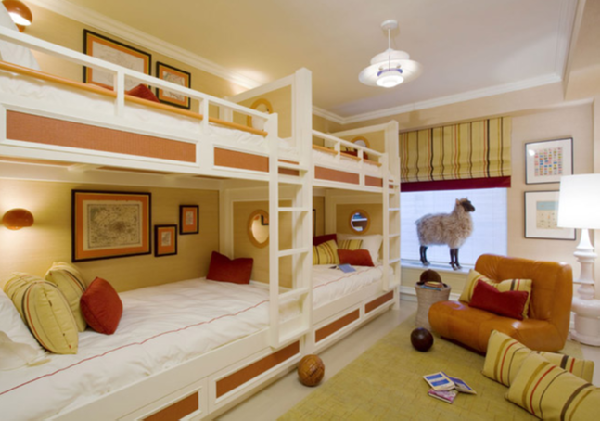Space Saving Ideas: Various Bunk Beds Design Ideas: Awesome Beige Scheme Quarter Bedroom Design With White Adult Bunk Bed Design ~ stevenwardhair.com Bed Ideas Inspiration