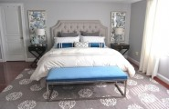 Breathtaking Blue And Gray Bedrooms For Romantic Person : Awesome Blue And Gray Bedrooms Cozy Warm Place To Rest Plush Pillow Throws Simple Rectangular Bed Bench Twin Flowery Long Paintings