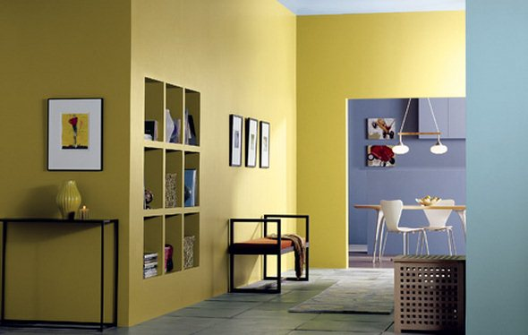 Sunny Yellow Paint Colors Make Your Living Room Feels Warm : Awesome Blue Yellow Living Room Interior Design With Buil In Shelves And Slate Tile Floor Ideas