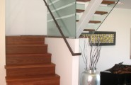 Beautiful Brazilian Cherry Stairs : Awesome Brazilian Cherry Stair Has Glass Wall With Sandblasted Stripes Corresponding To Stair Treads