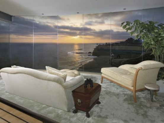 Contemporary Beach House with Transparent Glass Wall: Awesome Charming Above The Beach Beautiful And Decorating A Living Room With Large Sofa And Deep Rich Colors Contemporary Beach House With Transparent Glass Wall ~ stevenwardhair.com Apartments Inspiration