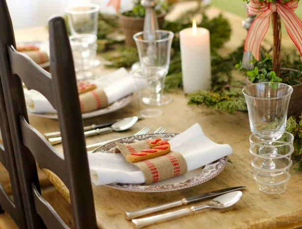 Fascinating Christmas Banquet Table Decoration Ideas: Awesome Christmas Banquet Table Decoration Ideas Comfortable Oak Table And Vintage Brown Chair With Astonishing Christmas Flatware Decoration ~ stevenwardhair.com Holiday Decoration Inspiration