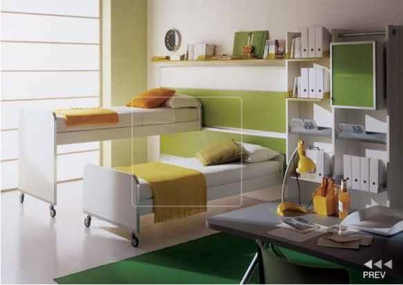 Awesome Contemporary Boys Bedrooms Design Ideas By Mariani: Awesome Clean Healthy And Highly Functional Green Tone Color Contemporary Boys Bedroom Design With On Wheel Bunk Beds Bookshelf Rug And Porcelain Tile Flooring Ideas ~ stevenwardhair.com Bed Ideas Inspiration