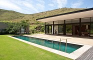 The Swellendam House: Sustainable Contemporary Home In South Africa : Awesome Contemporary Sustainable Home Exterior Design With Pool Lawn Concrete Flooring And Large Glass Wall And Glass Sliding Door Ideas