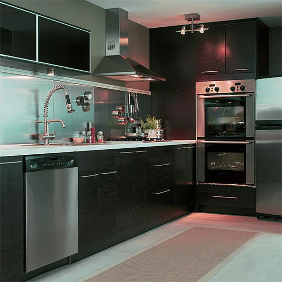 Stunning Sleek Black Kitchen Room Design Ideas : Awesome Dark Black Kitchen Room Design Ideas With Stainless Steel Pantry Range Hood Drawers Spacemaker Elegant Dark Kitchens Appliances Clean Sink