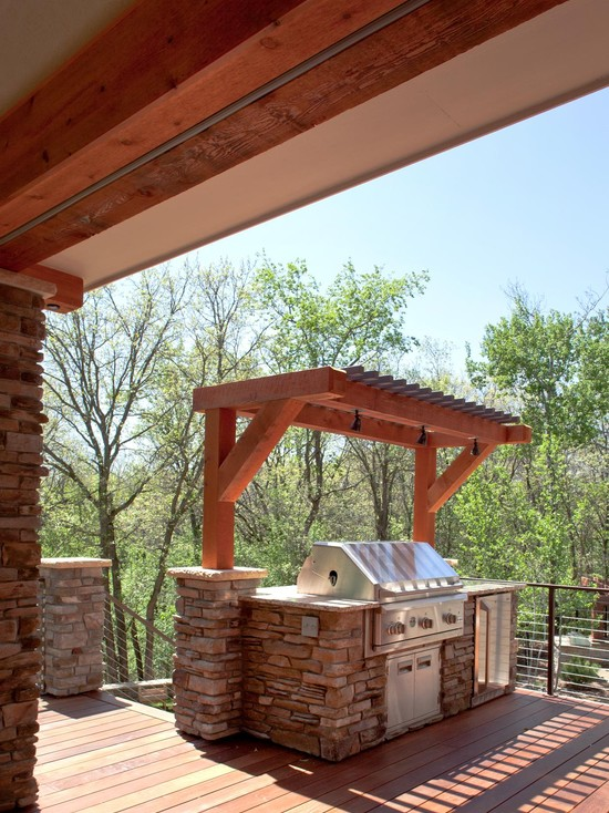 Terrific Outdoor Grill Exhaust And Ventilation: Awesome Deck Area With Small Pergola Over The Grill Defines And Outdoor Kitchen Using The Stone To Build The Bar