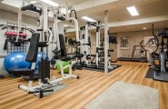 Inspiring Strategically Placed Gym In A Stylist Living Room : Awesome Decoration For Your Home Gym Design Ideas Massive Fitness Equipment Treadmill Laminated Floor Design Swiss Balls Weight Bench