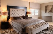 King Size Bed Headboard Dimensions Pictures : Awesome King Size Sleigh Bed With Lampshade Rug Dark Headboard With Fabric At Contemporary Bedroom