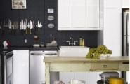 Charming Contemporary Kitchen Design : Awesome Kitchen Design With Metal Amid Pantry Material With Bar Stools ALong Complete With Sink And Stove Along RefrigeratorAnd Wiith Pine Kitchen Island And Black Wall
