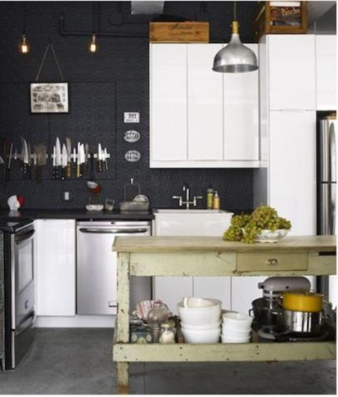 Charming Contemporary Kitchen Design: Awesome Kitchen Design With Metal Amid Pantry Material With Bar Stools ALong Complete With Sink And Stove Along RefrigeratorAnd Wiith Pine Kitchen Island And Black Wall